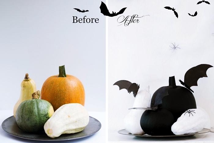déco pour la fête d'Halloween facile à faire soi-même, modèles de potirons et citrouilles peints en blanc et noir