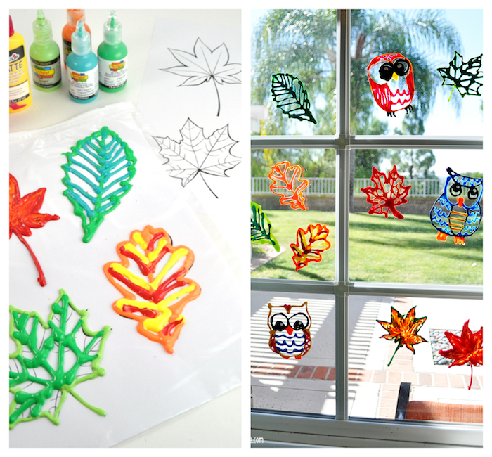 bricolage automne pour enfant, motif feuille morte et hibou en peinture 3d, idée de décoration fenêtre automne à faire soi meme