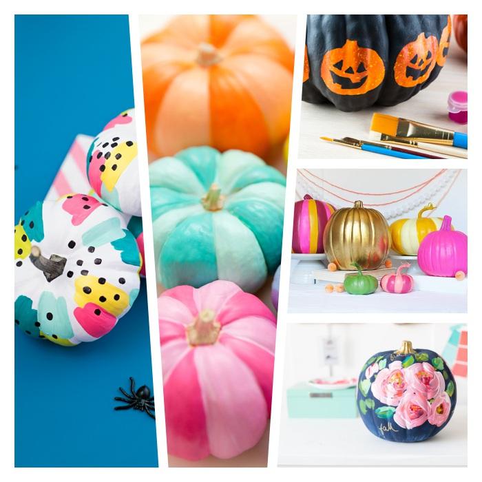 exemple de décoration halloween a fabriquer, citrouille repeinte décorée de peinture couleurs et motifs variés, dessin roses, motif jack o lantern