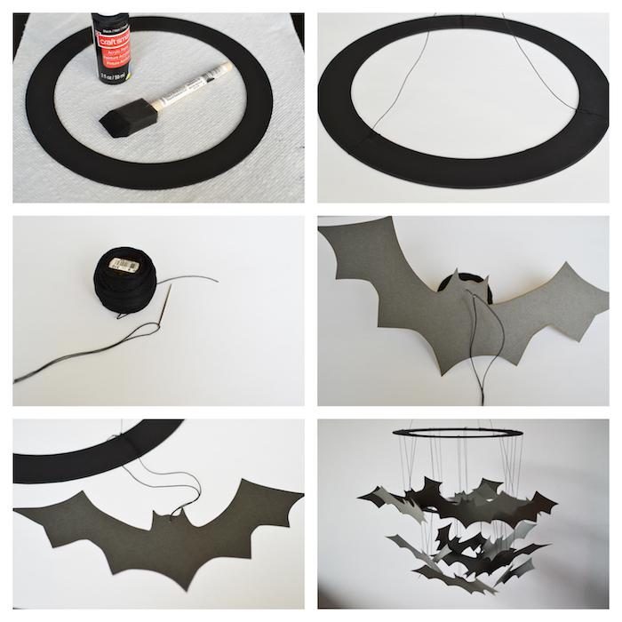 décoration halloween a fabriquer, mobile en papier fabriqué avec un cerceau en papier et silhouettes chauve souris en papier