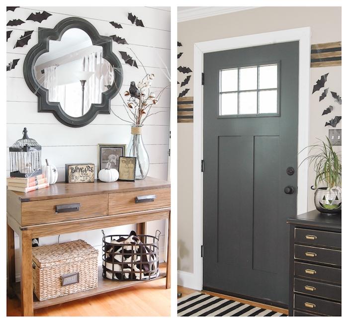 deco entrée halloween, meuble d entrée en bois décoré de cagette oiseau noire, potiron et cadre photo noir et blanc, miroir avec cadre noir et chauve souris papier noir