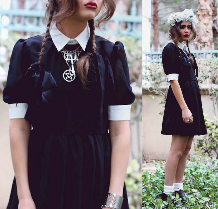 robe noire à col et manches blancs, collier wicca, cheveux en nattes fille et couronne de fleurs blanches, maquillage foncé
