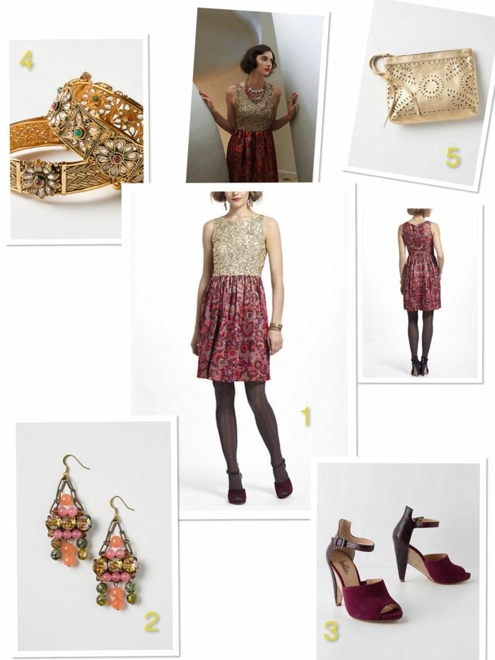 comment porter sa tenue mariage de manière stylée, bracelets ornementés, pochette dorée, robe bicolore