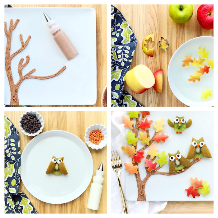 tronc d arbre en crème fraîche, feuilles mortes en pomme et hiboux en kiwi bonbons, pépites de chocolat, activité manuelle primaire sur l automne gourmande
