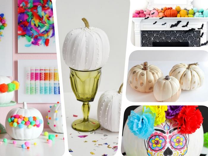 modèles de potiron halloween facile à faire, exemple citrouille blanche avec ornements en perles, dessin facile sur citrouille