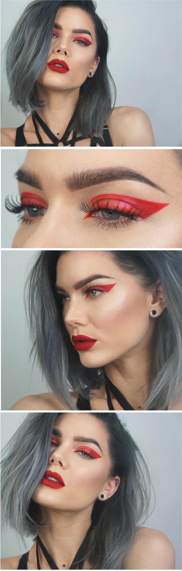 maquillage des yeux rouge avec un regard souligné par un trait d'eye-liner épais et intense, idée de maquillage halloween facile qui ne fait pas peur