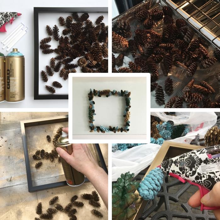 tutoriel pour fabriquer un cadre photo facile avec pommes de pin, modèle de cadre photo DIY en petites pommes de pin