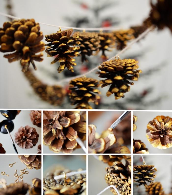 idée bricolage pomme de pin facile, tutoriel comment réaliser une guirlande diy en corde et pommes de pin colorées en or