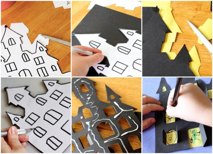 fabrication facile d'une maison hantée en papier spécial halloween, bricolage halloween maternelle amusant et facile