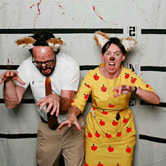 idée de couple pour halloween, deguisement couple pas cher, robe jaune aux cerises, diadème chat et maquillage de chat