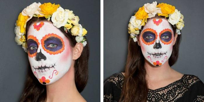 couronne de fleurs jaunes, visage blanc, vigne orange au-dessus des racines des cheveux, fleur au menton