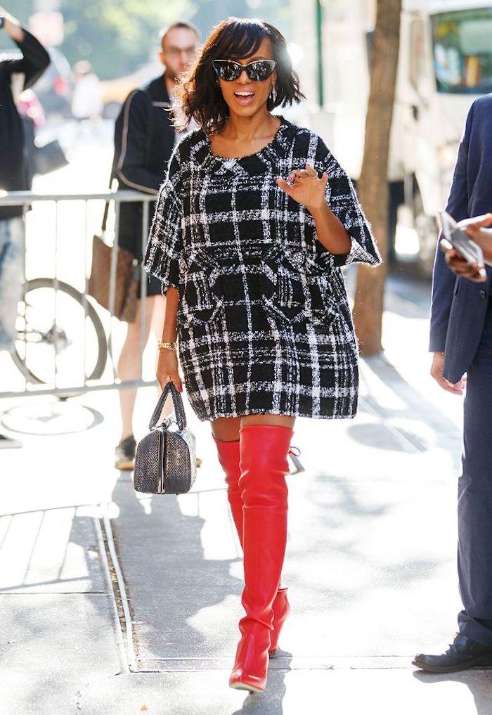 Cuissarde jean, look avec cuissarde, comment s'habiller aujourd'hui automne avec cuissardes rouges en cuir