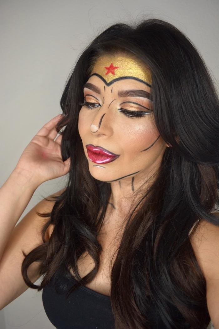 maquillage de femme super héros de style pop art, le maquillage de wonder woman emblématique