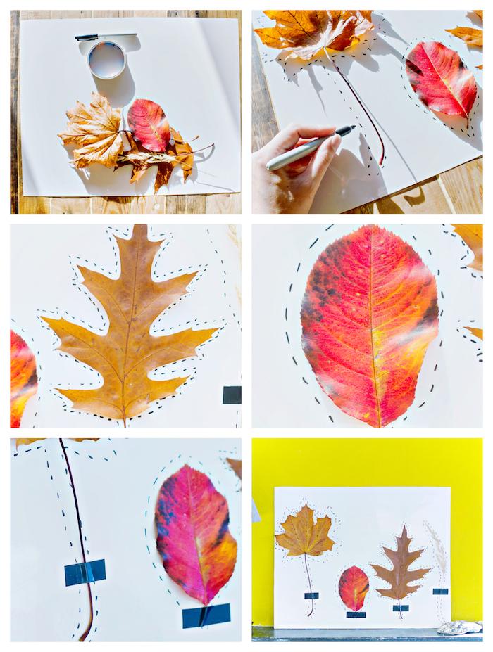 land art avec des feuilles mores aux contours dessinés sur un bout de papier blanc, activités manuelles sur l automne