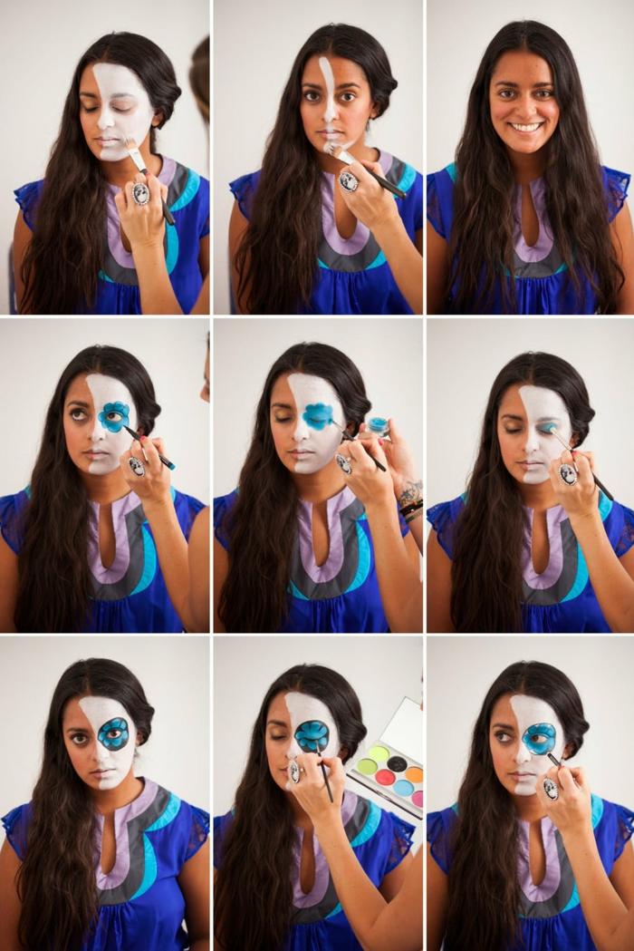 maquillage halloween femme facile, visage demi crâne, cheveux longs, tenue bleue, cernes bleus autour des yeux