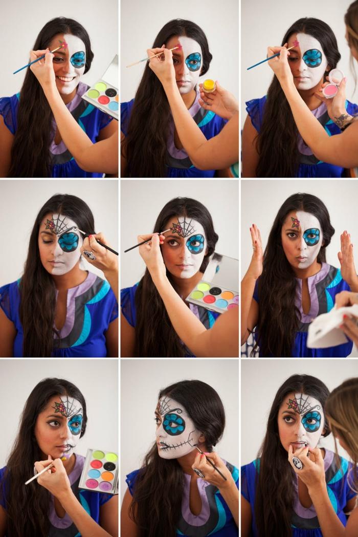 dessin sur visage demi crâne, maquillage halloween femme facile, maquillage festif