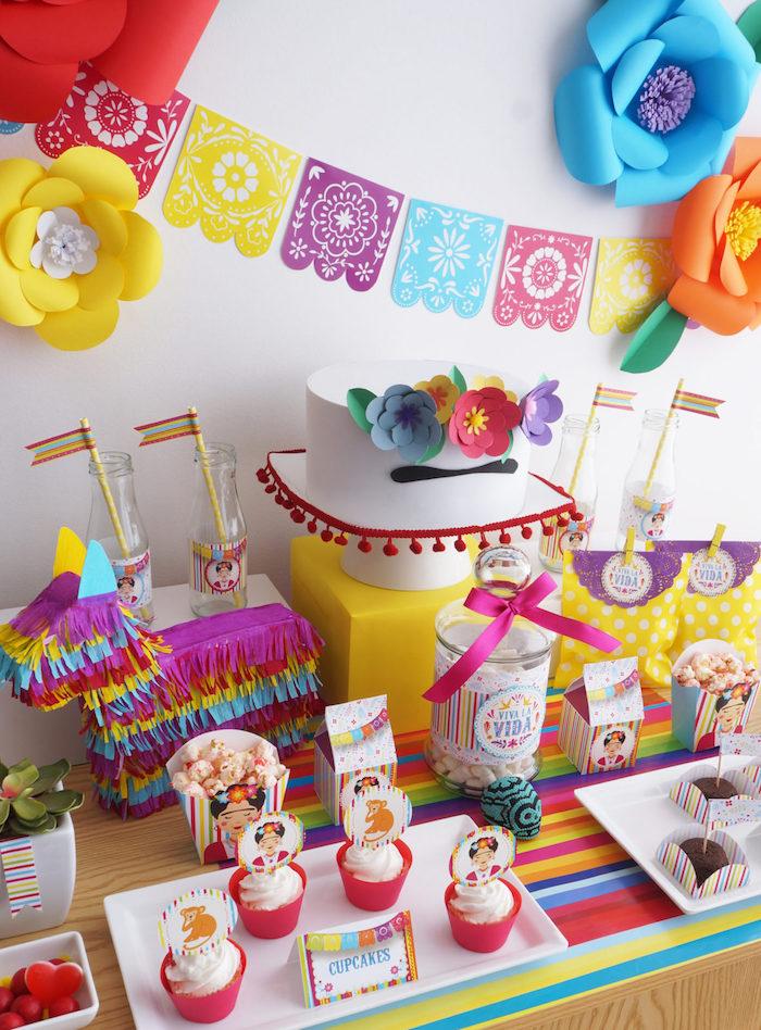 Joyeux anniversaire 18 ans deco anniversaire pas cher, deco pour anniversaire 18 ans, frida kahlo inspiration pour décoration coloré