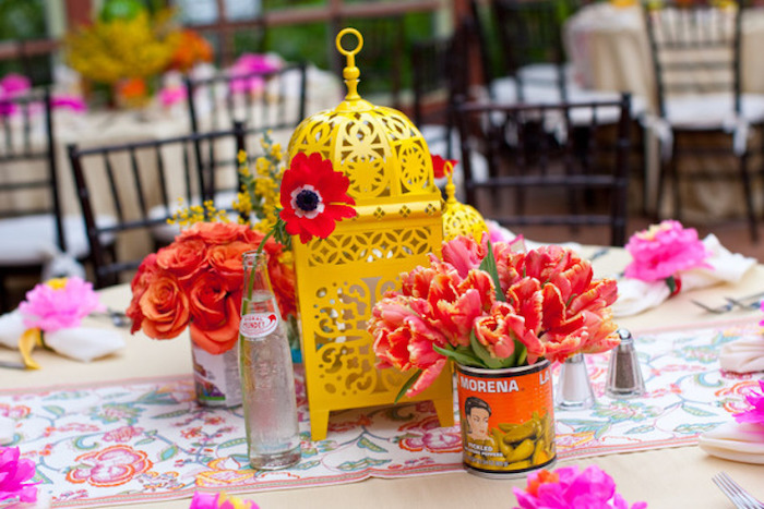 Deco Frida Kalho anniversaire pas cher, deco fete pas cher, anniversaire 18 festive déco coloré, centre de table cage d'oiseaux jaune