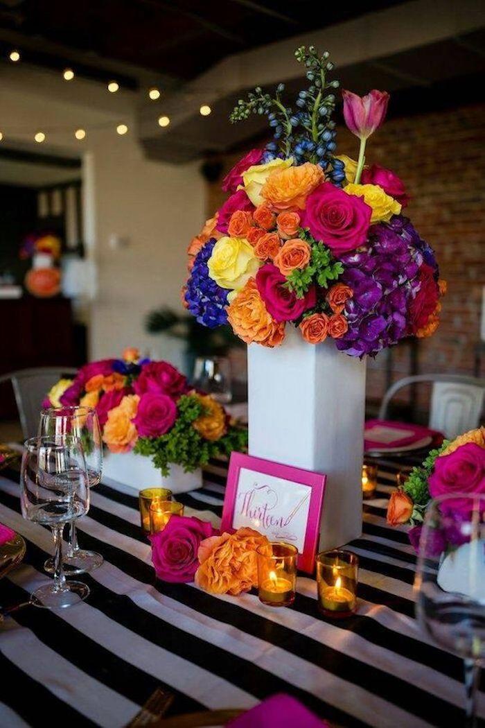 Décoration salle anniversaire, deco anniversaire pas cher, déco festive 18 ans fleurs colorés adorable déco