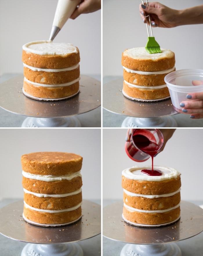 tutoriel pour apprendre à monter un gâteau à étages facile, recette gateau halloween maternelle avec génoise et crème vanille