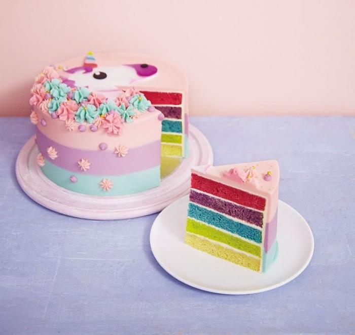 tuto pour réaliser un gâteau licorne au nappage gateau arc-en-ciel parfaite pour une fête licorne