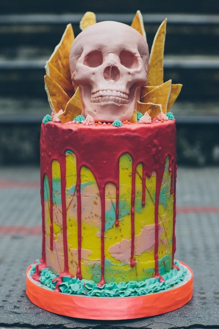 exemple de gâteau en couche avec nappage multicolore et décoration effrayante pour Halloween, recette halloween dessert