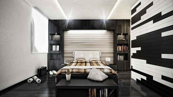sol noir, déco peinture chambre monochrome, faux plafond lumineux, banquette de lit noire