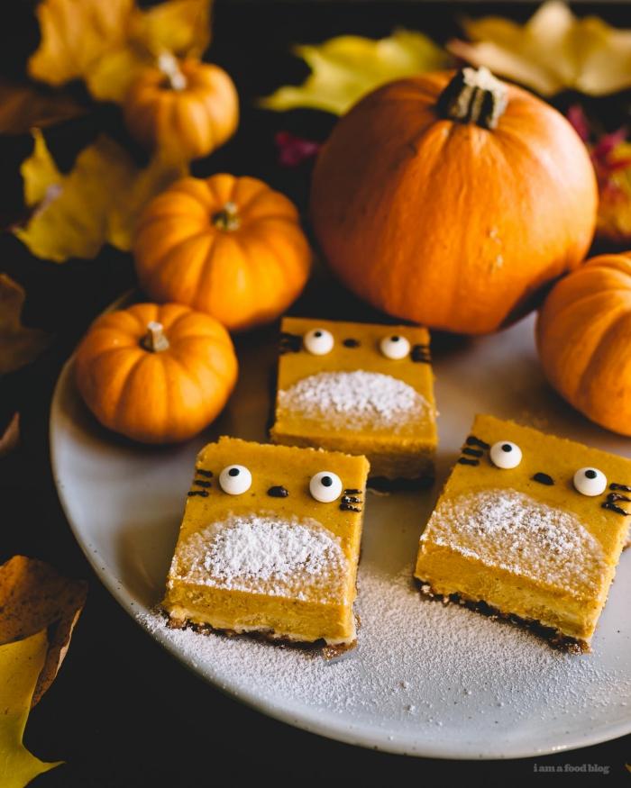 des barres de cheesecake à la citrouille inspirées du film mon voisin totoro idéal pour un gouter halloween pour les enfants