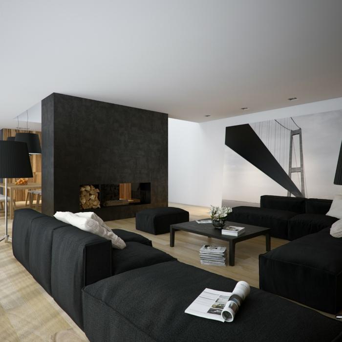 couleur mur salon noir et blanc, sofas confortables, grand poster monochrome, table de salon noire