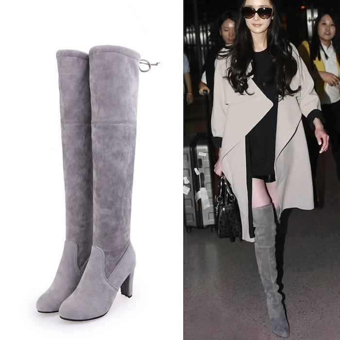 Comment bien porter les cuissardes, tenue avec cuissardes, look automne, chaussures grises avec quoi