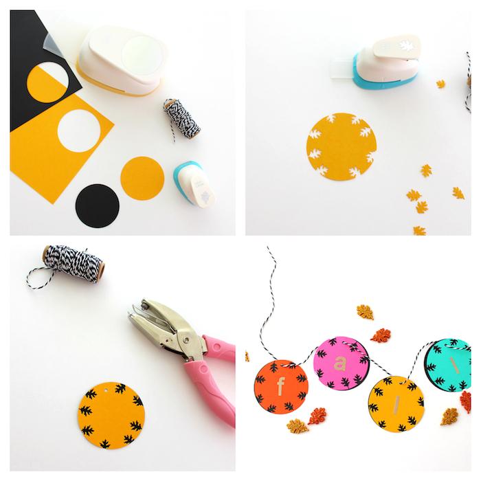 guirlande de cercles en papier à motif feuille morte miniature réalisé à l aide d une perforatrice, bricolage enfant maternelle automne