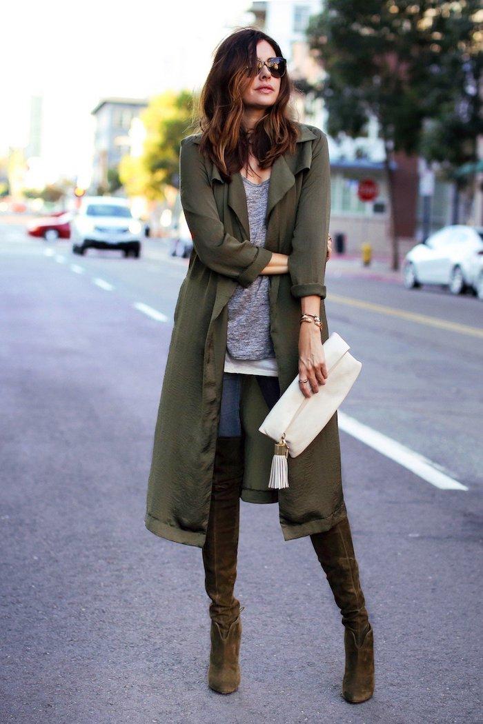 Tenue avec cuissardes pour femme stylée, idée comment s'habiller en automne, accessoiriser bien son tenue