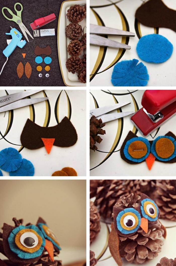 apprendre à réaliser une figurine animalière avec pommes de pin et feutre textile, exemple bricolage pomme de pin