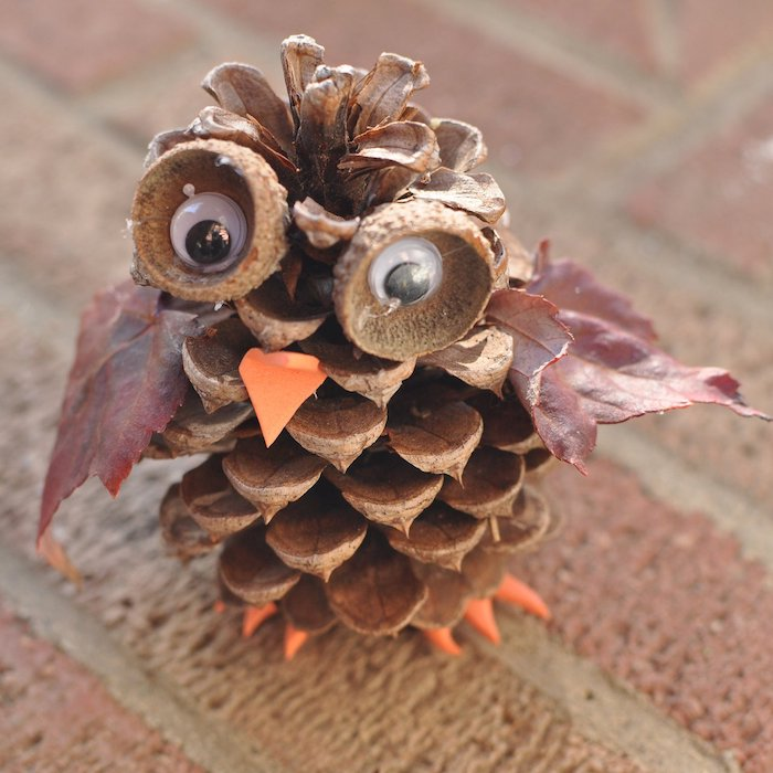 hibou en pomme de pin, bec en papier orange, des yeux en glands et des yeux mobiles avec bec et pattes en papier mousse orange