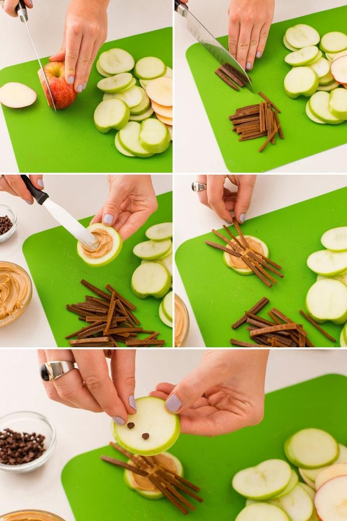 recette d'amuse bouche halloween rapide et facile, rondelles de pomme transformées en araignées d'halloween