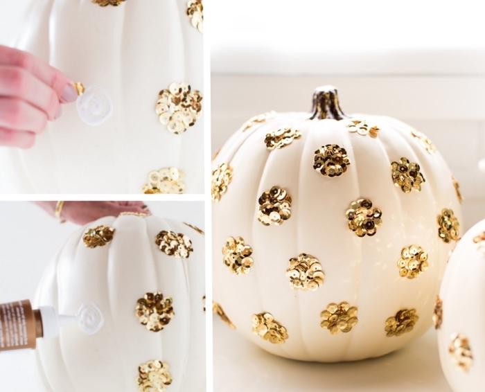 tutoriel facile pour apprendre comment décorer courge halloween, exemple activité manuelle facile pour déco Halloween stylée
