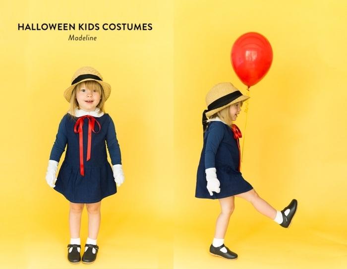 déguisement facile Halloween pour enfant, costume de personnage enfant, déguisement petite fille en Madeline