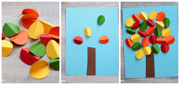 arbre en feuilles de papier colorés, tige tronc d arbre en bande de papier marron sur une feuille de papier bleu, loisir creatif automne