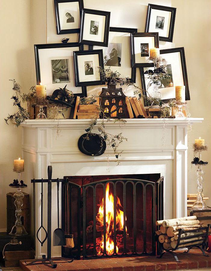 décoration de cheminée avec nombreux objets et cadres photos anciennes style désorganisé