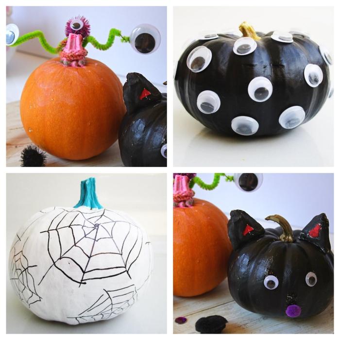 activité manuelle halloween maternelle, idée comment faire une décoration de citrouille effrayante avec peinture noire et yeux mobiles