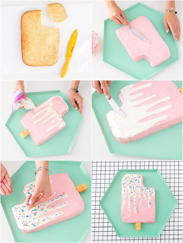 tuto facile pour décorer un simple génoise découpé en forme de glace, nappage gâteau pour réaliser une jolie décoration
