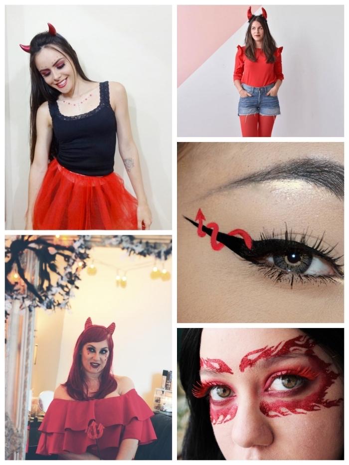 quelques idées de déguisement et de maquillage de diablesse de dernière minute, maquillage yeux de diablesse avec eye-liner queue de diable ou motifs à paillettes atour les yeux