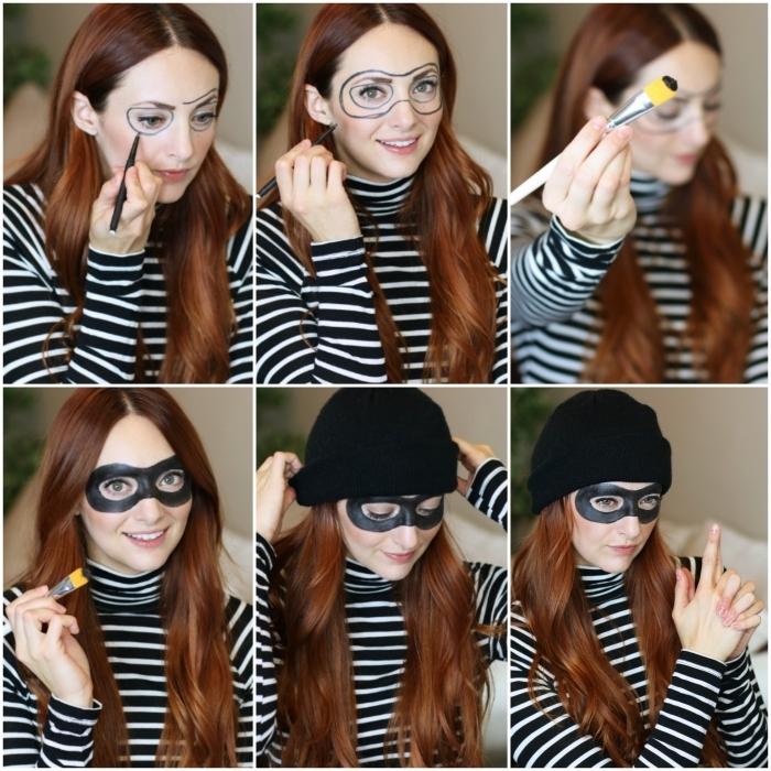 idée de maquillage halloween simple et économique, maquillage de voleuse avec un simple masque noir peint autour les yeux complété par une blouse à rayures et un bonnet noir