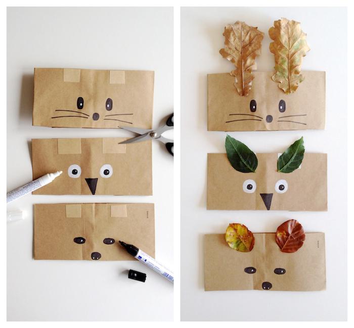 couronne en sac de papier kraft avec des traits de visage dessinés et des oreilles en feuilles mortes, activité manuelle automne maternelle