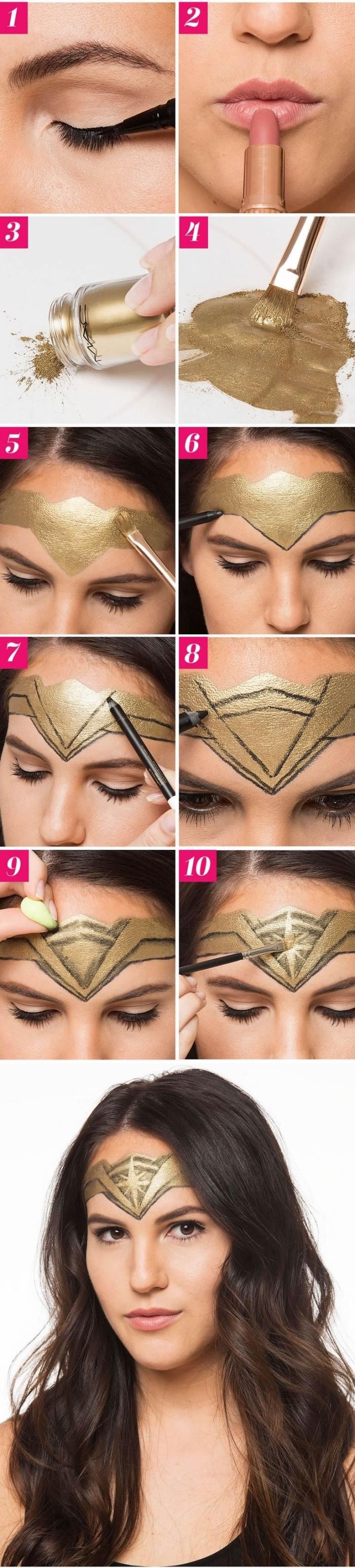 tuto maquillage halloween de dernière minute pour faire le bandeau de wonder woman, maquillage de super-heronïne