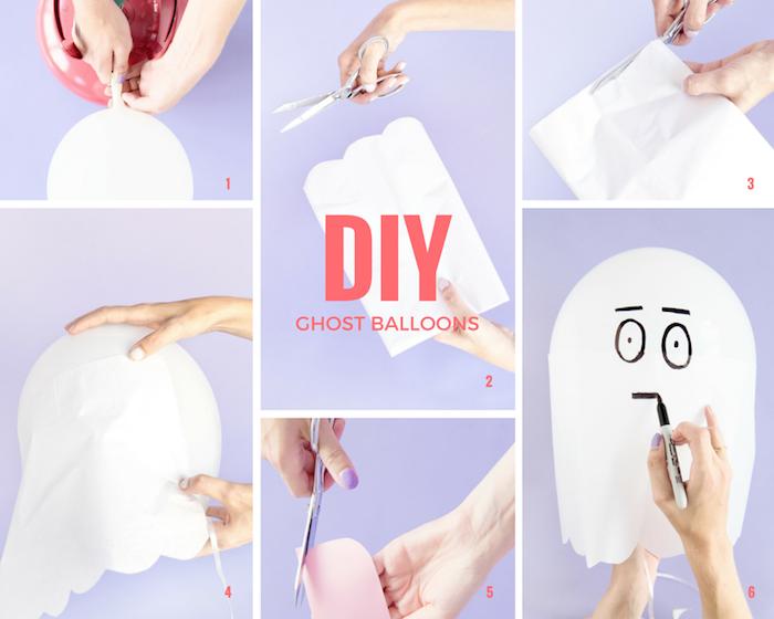 deco halloween a faire soi meme avec ballon décoré de papier de soie blanc pour fabriquer un fantôme de halloween