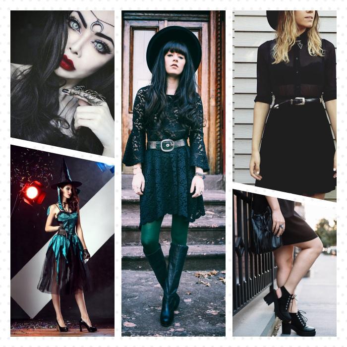plusieurs idées de maquillage sorcière et tenue halloween femme avec robe noire, bottines noires, maquillage foncé, rouge à lèvres rouge foncé, lentilles bleues