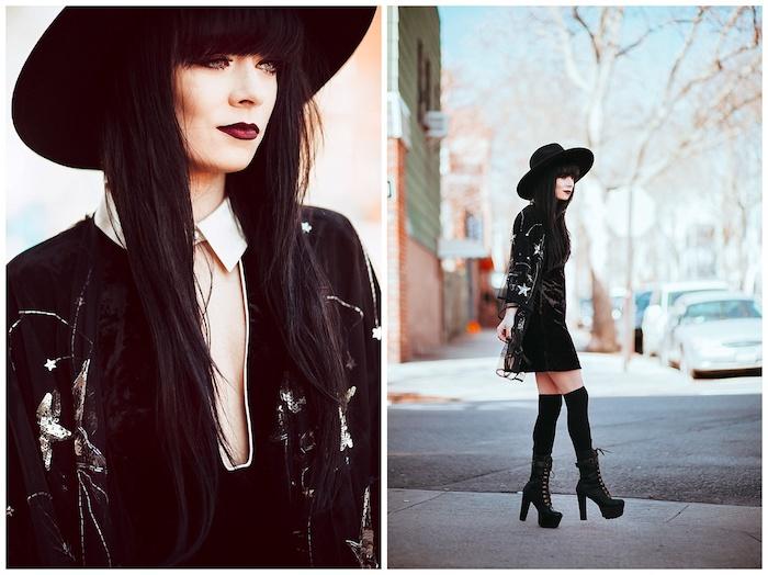 exemple de maquillage halloween sorciere original avec un rouge à lèvres rouge foncé, eye liner et mascara noir, capeline chapeau sorcière noire, bottes, robe et veste femme noire