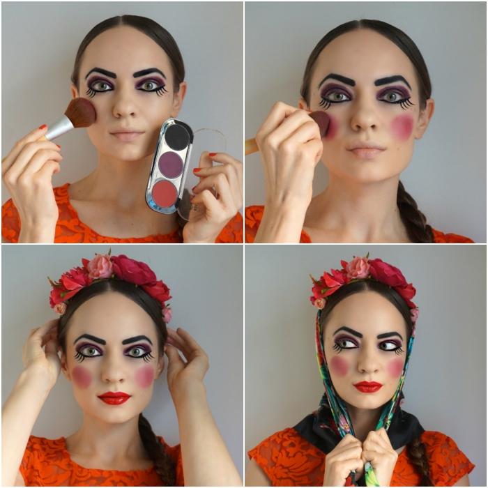 les étapes finales du maquillage poupée russe, look de poupée russe aux joues rosées, bouche rouge et sourcils bien dessinés