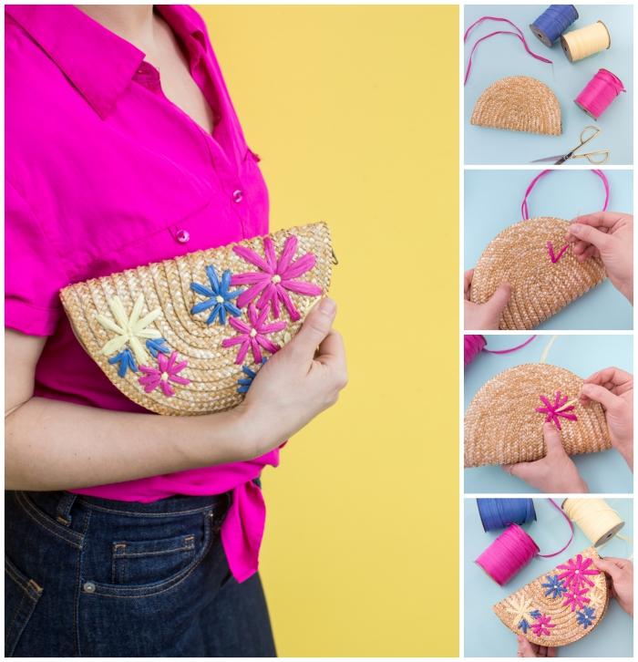 tuto couture facile pour réaliser un accessoire de mode pour l'été, une pochette de paille diy avec broderie florale